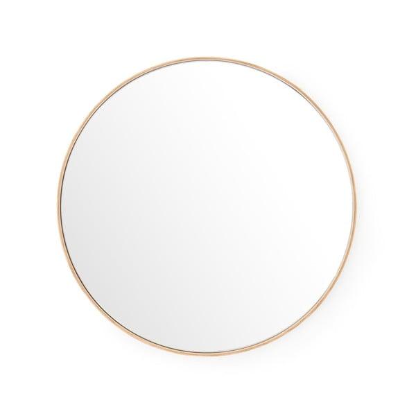 Nástěnné zrcadlo srámem zdubového dřeva Wireworks Glance, ⌀66 cm