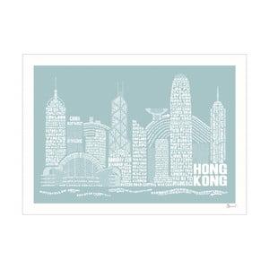 Plakát Hong Kong Blue&White, 50x70 cm