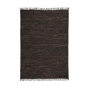 Tmavě hnědý kožený koberec Kayoom Rajpur, 60x90cm