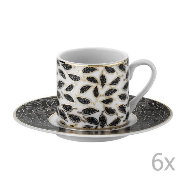 Sada 6 porcelánových hrnků na kávu s podšálky Parthena, 50 ml