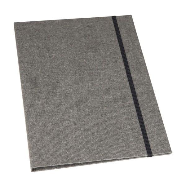 Šedé pouzdro na dokumenty s elastickým zapínáním Bigso, A4