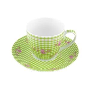 Porcelánový šálek s podšálkem Karo, zelený 4 ks