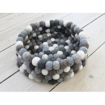 Coș depozitare cu bile din lână Wooldot Ball Basket, ⌀ 28 cm, alb - gri imagine