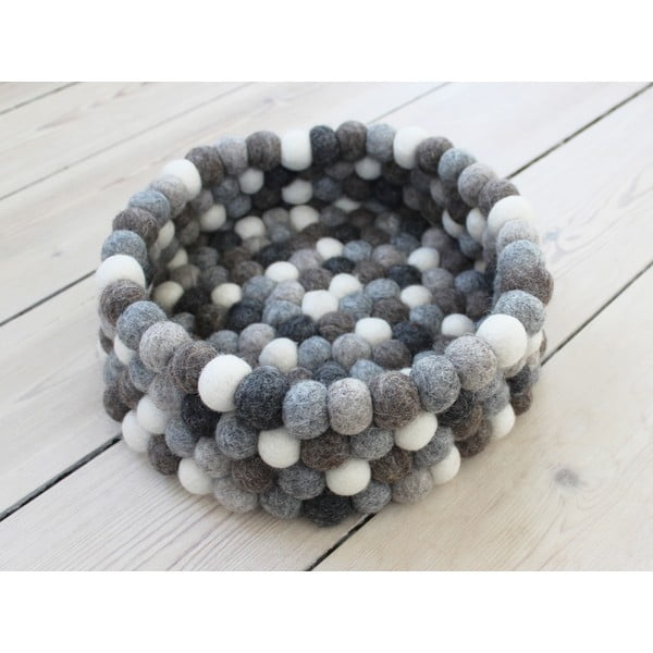 Sivo-biely guľôčkový vlnený úložný košík Wooldot Ball Basket, ⌀ 28 cm