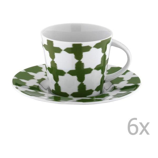 Set 6 căni din porțelan pentru ceai cu farfurioară Drosoula