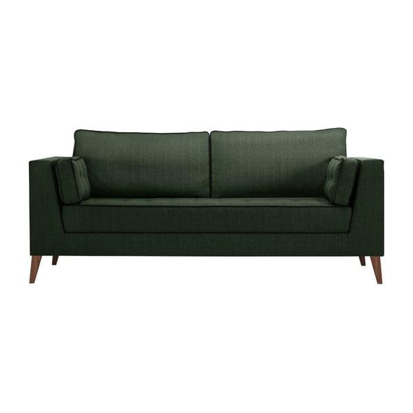 Canapea cu 3 locuri cu detalii negre Stella Cadente Maison Atalaia Bottle Green, verde închis