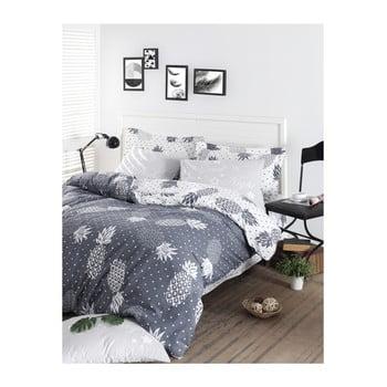 Lenjerie de pat cu cearșaf din bumbac ranforce, pentru pat dublu Mijolnir Night Petrol, 160 x 220 cm de la Mijolnir