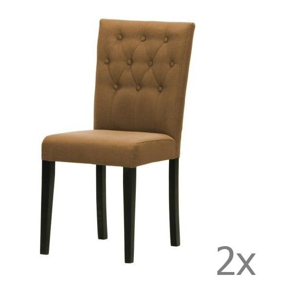 Sada 2 židlí Monako Etna Brown, černé nohy