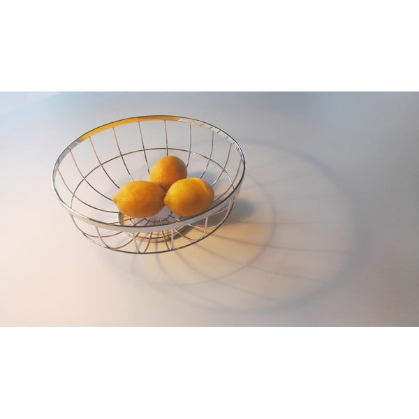 Bol pentru fructe PT LIVING Grid, Ø 28 cm, argintiu