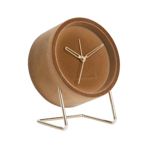 Ceas cu alarmă din catifea Karlsson Lush, maro caramel