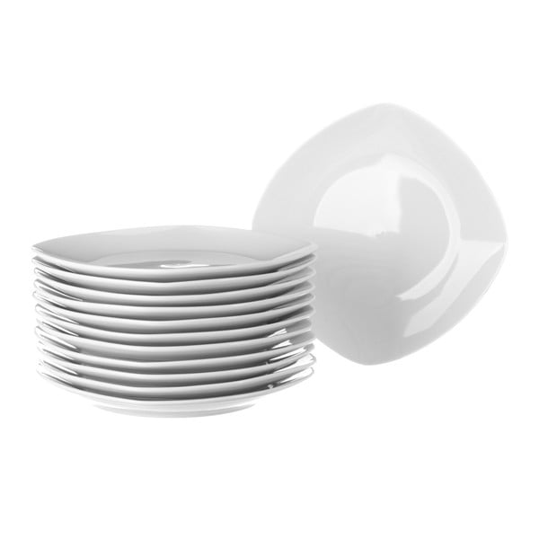 Sada 12 bílých porcelánových talířů Unimasa Cubic, průměr26,8cm