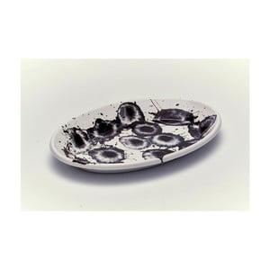 Černobílý smaltovaný servírovací talíř Kapka Floral Madness