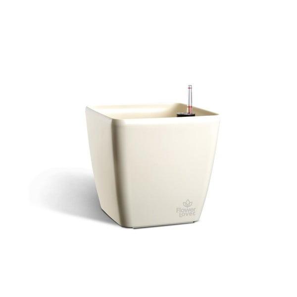 Biała doniczka z systemem nawadniania Flower Lover Quadrato, 18x18 cm