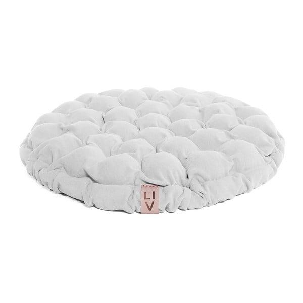 Biała poduszka do siedzenia wypełniona piłeczkami do masażu Linda Vrňáková Bloom, Ø 65 cm