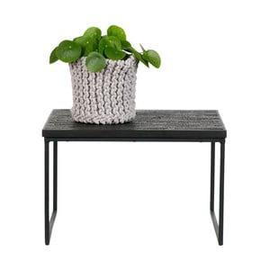 Černý odkládací stolek s deskou z recyklovaného týkového dřeva De Eekhoorn Sharing
