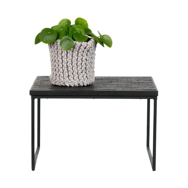Černý odkládací stolek s deskou z recyklovaného týkového dřeva BePureHome Sharing