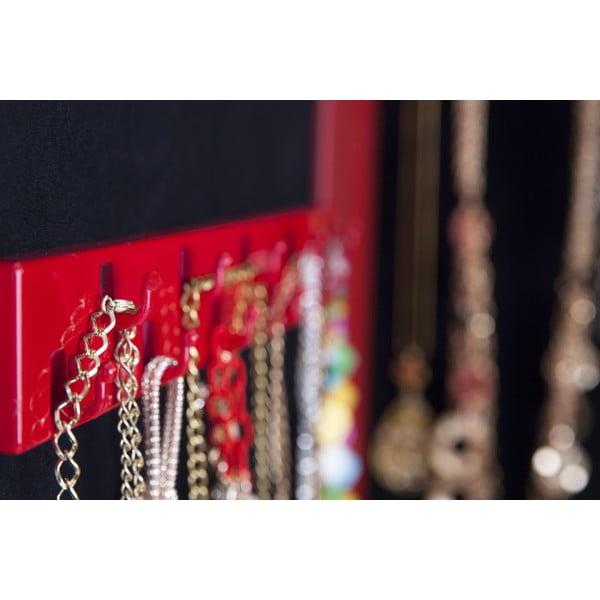 Závěsné zrcadlo se šperkovnicí Adriana, červené