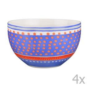 Sada 4 porcelánových misek s puntíky Oilily 15 cm, modrá