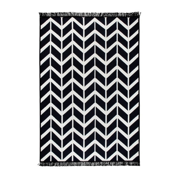 Černo-bílý oboustranný koberec Kirke, 80 x 150 cm