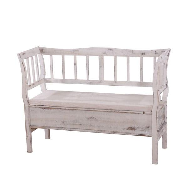 Bílá lavice s úložným prostorem a podsedákem Mendler Shabby