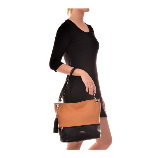 Černo-oranžová kožená kabelka Anna Luchini Hunna