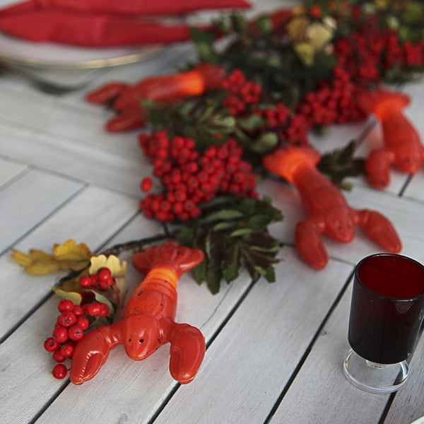 Červený světelný LED řetěz vhodný do exteriéru Best Season Lobster, 8 světýlek
