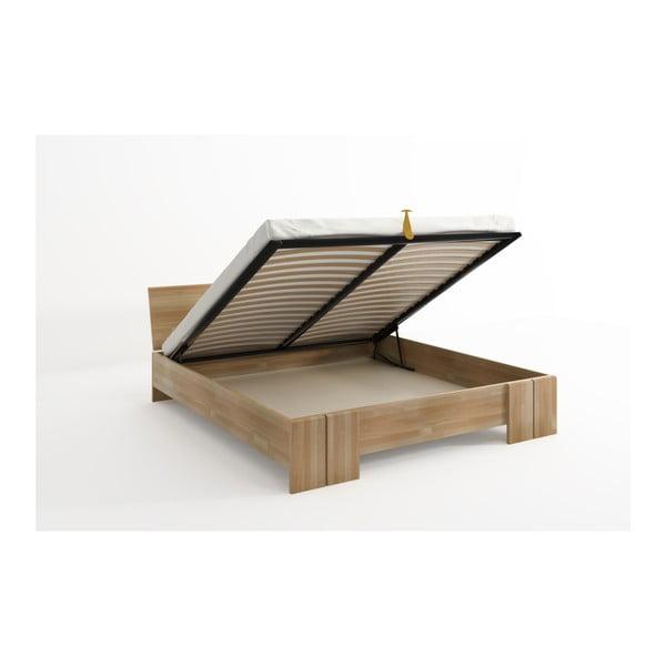 Pat dublu din lemn de fag, cu spațiu de depozitare, SKANDICA Vestre Maxi, 160 x 200 cm