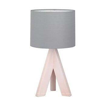 Veioză din lemn și pânză Trio Ging, înălțime 31 cm, gri