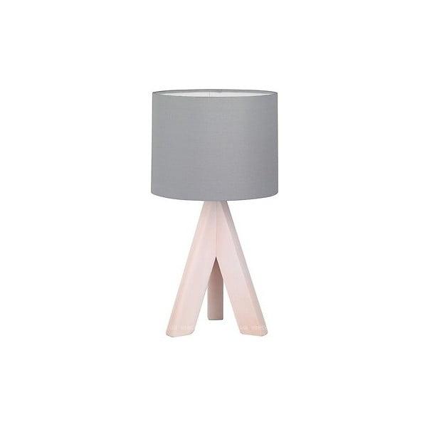 Šedá stolní lampa z přírodního dřeva a tkaniny Trio Ging, výška 31 cm