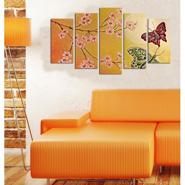 Pětidílný obraz Motýli, 110x60 cm