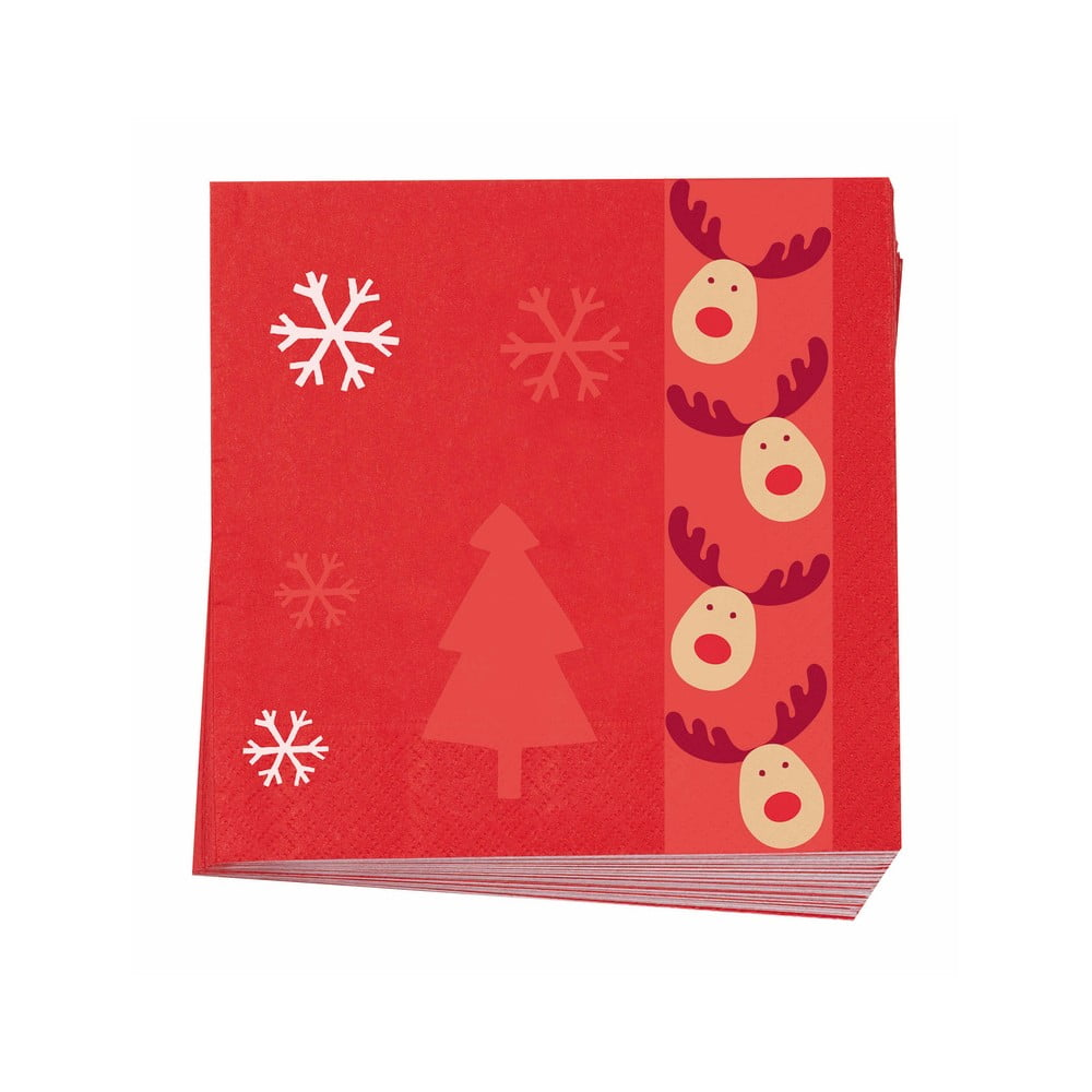 Sada 16 papírových ubrousků Neviti Rocking Rudolf, 16,5x16,5cm