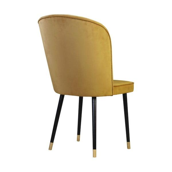 Hořčicová jídelní židle s detaily ve zlaté barvě JohnsonStyle Leende