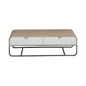 Světle šedý konferenční stolek s detailem z masivního mangového dřeva Woodjam Chevron