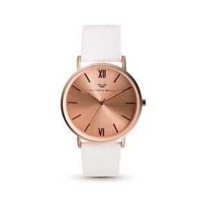Dámské hodinky s bílým koženým řemínkem Victoria Walls Zito