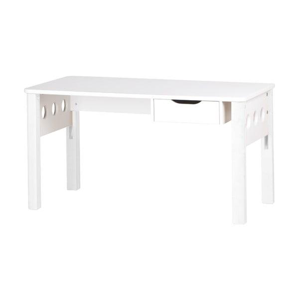 Bílý psací stůl z březového dřeva s nastavitelnou výškou Flexa
