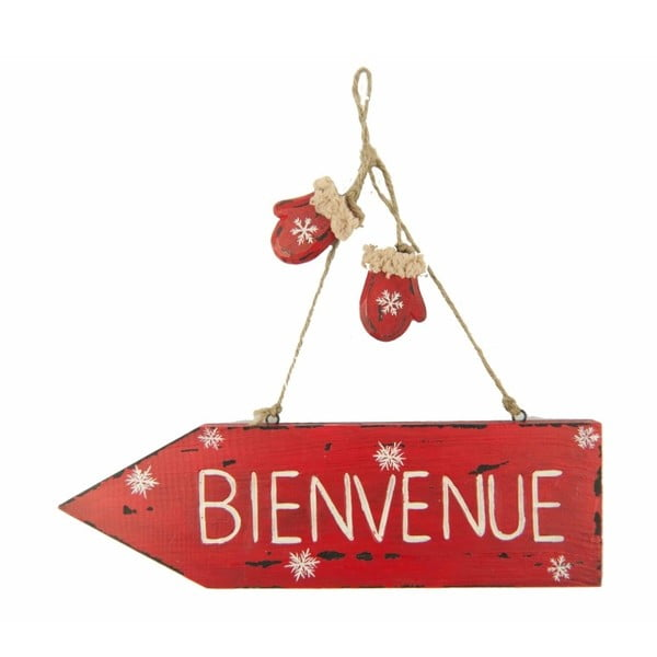 Inscripție decorativă Antic Line Bienvenue, roșu