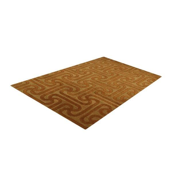 Vlněný koberec Twist Camel Gold, 153x244 cm