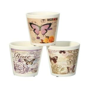Sada 3 květináčů Ixia Butterflies