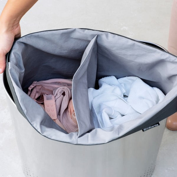 Koš na prádlo Selector 55 l, matná ocel
