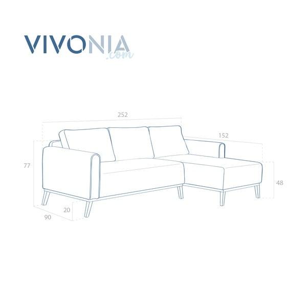 Světle šedá pohovka s lenoškou na pravé straně Vivonita Milton