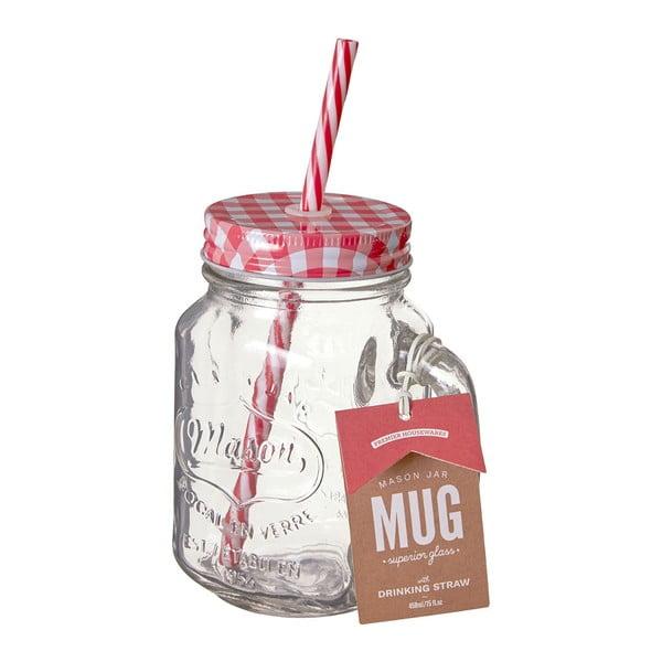 Üvegpohár piros fedéllel és szívószállal, 450 ml - Premier Housewares