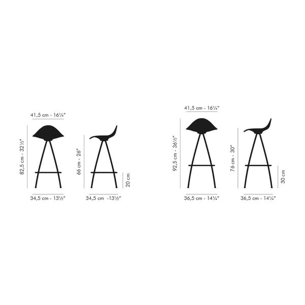 Černá  stolička s chromovanými nohami Stua Onda, 76cm