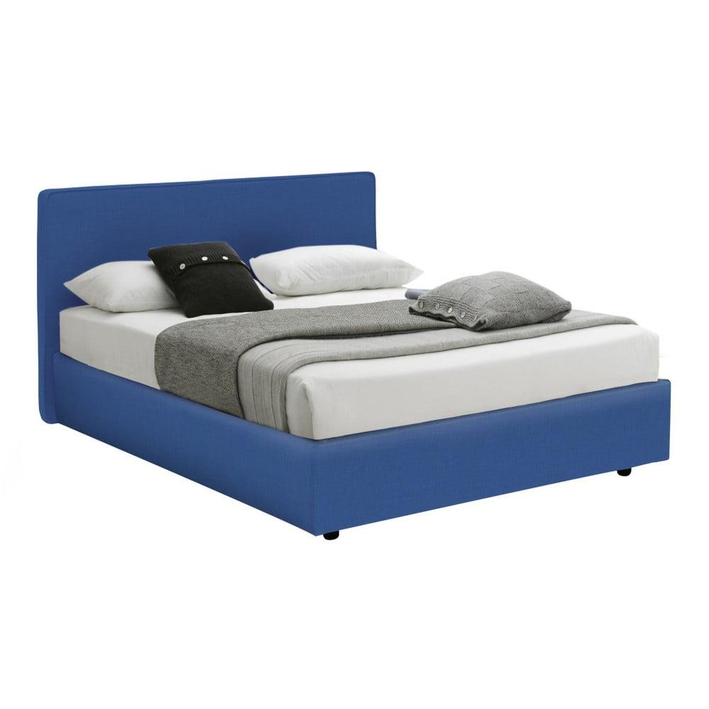 Modrá jednolůžková postel s úložným prostorem 13Casa Ninfea, 120 x 190 cm