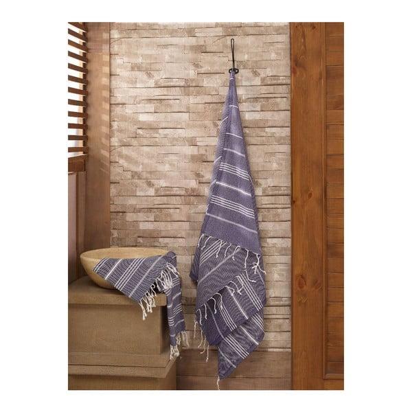 Set tmavě modrého ručníku a osušky Hammam ze 100% bavlnySultan