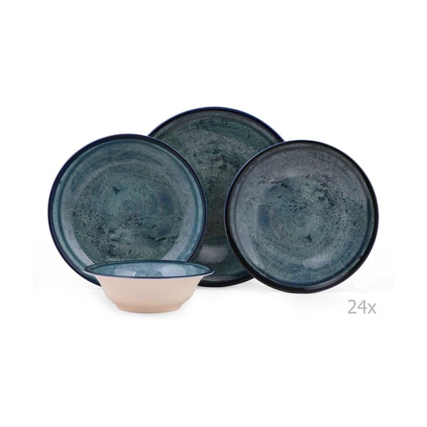 24dílná sada porcelánového nádobí v modré barvě Kutahya Mulio