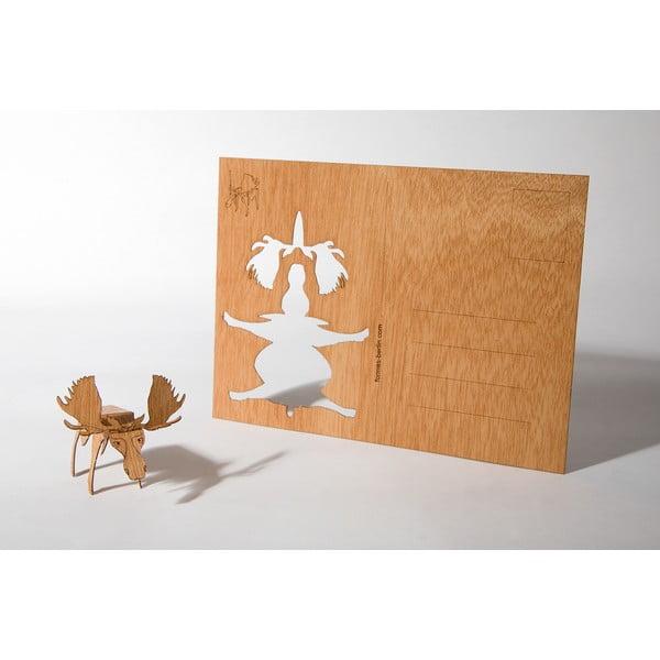 Drewniana kartka świąteczna Formes Berlin Łoś, 14,8x10,5 cm