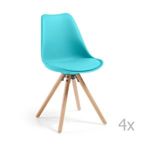 Set 4 scaune de bucătărie cu picioare din lemn La Forma Lars, albastru