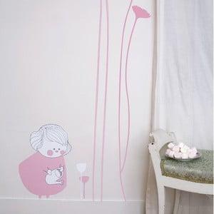 Samolepka na zeď Little girl with carnations, 54x47 cm