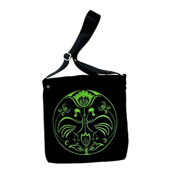 Plstěná vyšívaná taška Goshico Folk kohoutí, zelená