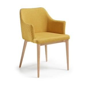 Scaun cu picioare din lemn și cotiere La Forma Danai, galben